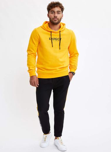 DeFacto Kapüşonlu Baskılı Slim Fit Sweatshirt Sarı